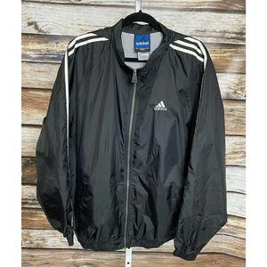 Adidas Vintage 90's Black Gold Three Stripes Zip Up Windbreaker Jacket Large
